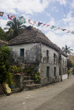 Stone house. A row of stone houses with banners Stock Image