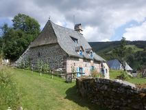 Stone house. Architecture of the Cantal Stock Photos
