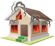 Stone house burns. Property insurance against fire. Home insurance Stock Images