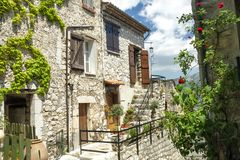 Traditional Stone House in Provence. Stone house in the cliff top village of Gourdon near Nice and Cannes in Provence Stock Image