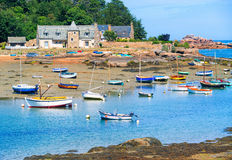 Stone house and fishermen's boat in Brittany, France Royalty Free Stock Photo