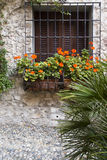 Stone house with flowers, Sirmione, Italy Stock Images