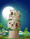 Stone house in fullmoon night Stock Images