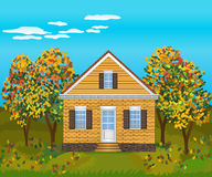 Stone house , illustration Royalty Free Stock Photo