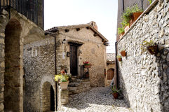 Stone house in italian village Royalty Free Stock Photos