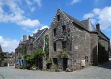 Stone house in Locronan. Old granit house in village Locronan in Brittany, France Stock Photo