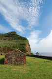 Stone house. In Nord east coast of flores island in azores, Portugal Royalty Free Stock Image