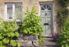 Stone house with pastel green doors and cottage flowers in front . Green wooden doors in an old stone house, with hollyhocks and other cottage flowers and Stock Image