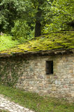 Stone house roof slabs with moss Royalty Free Stock Photography