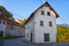 Stone house in Skofja Loka town Stock Photo