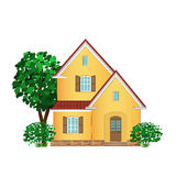 Stone house and tree, illustration Stock Image