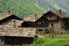 Stone house village by Aosta, Italy Stock Photo