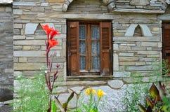 Stone house window Royalty Free Stock Photo