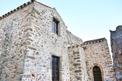 Stone houses at Monemvasia castle Peloponnese Greece Stock Photos