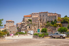Stone houses on hill, town landscape, South Corsica Stock Images