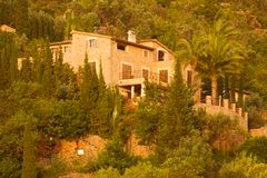 Stone houses on hillside in Spain Royalty Free Stock Photo