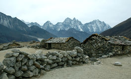 Stone houses in the Himalayas. Stone houses along the way to Gorak Shep, Mt Everest Trek (Nepal Himalayas Royalty Free Stock Photos
