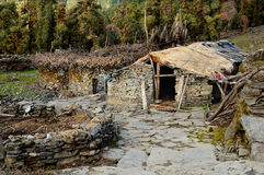 Stone houses indian shepherds Royalty Free Stock Photos