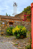 Stone houses and lighthouse in Colonia del Sacramento, Uruguay Stock Photo