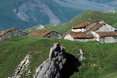 Stone houses at Mont-Cenis, France Royalty Free Stock Photography