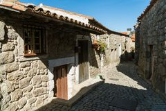 Stone houses and nerrow historical streets in Monsanto village,. Stone houses and narrow historical streets in Monsanto village, Portugal Royalty Free Stock Images