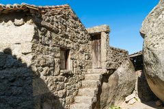 Stone houses and nerrow historical streets in Monsanto village,. Stone houses and narrow historical streets in Monsanto village, Portugal Royalty Free Stock Photography