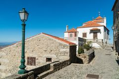 Stone houses and nerrow historical streets in Monsanto village,. Stone houses and narrow historical streets in Monsanto village, Portugal Royalty Free Stock Photo