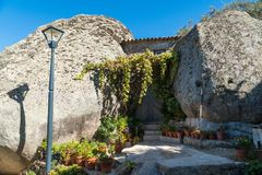 Stone houses and nerrow historical streets in Monsanto village,. Stone houses and narrow historical streets in Monsanto village, Portugal Stock Image