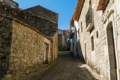 Stone houses and nerrow historical streets in Monsanto village,. Stone houses and narrow historical streets in Monsanto village, Portugal Stock Photo