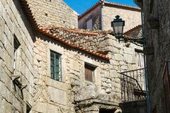 Stone houses and nerrow historical streets in Monsanto village,. Portugal Royalty Free Stock Image