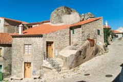 Stone houses and nerrow historical streets in Monsanto village,. Portugal Royalty Free Stock Photo