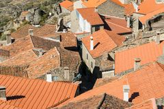 Stone houses and nerrow historical streets in Monsanto village,. Stone houses and narrow historical streets in Monsanto village, Portugal Stock Images