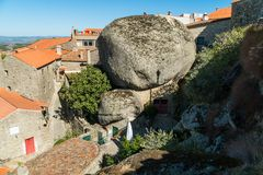 Stone houses and nerrow historical streets in Monsanto village,. Stone houses and narrow historical streets in Monsanto village, Portugal Stock Photography