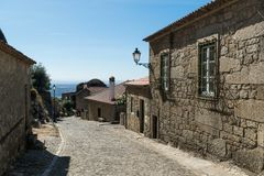 Stone houses and nerrow historical streets in Monsanto village,. Stone houses and narrow historical streets in Monsanto village, Portugal Stock Photos