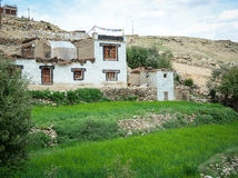Stone houses with rice fields at the Nubra valley in Ladakh, India Royalty Free Stock Photos