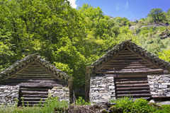 Stone houses, Rustico, Ticino Royalty Free Stock Images