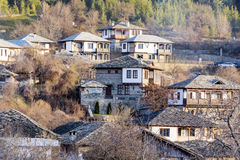 Stone houses with stone roofs  in  the  Village of  Leshten Stock Image