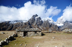 Stone hut in the Everest Stock Photo