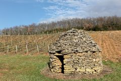Stone hut in the vineyards of Beaujolais, France Royalty Free Stock Photo