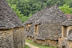 Stone huts in Breuil, France Royalty Free Stock Photo
