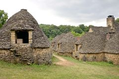 Stone huts in Breuil, France Royalty Free Stock Photography