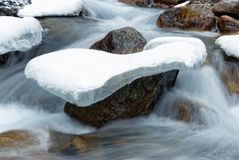 Stone in the ice and stream Royalty Free Stock Photos