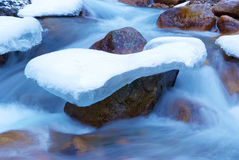 Stone in ice and stream Stock Photos