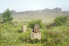 Stone idol in the steppe Stock Photos