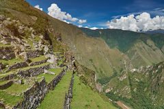 Stone inca terraces with grass Royalty Free Stock Photo