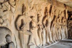 Stone inscriptions in cave Mamallapuram, India Stock Photo