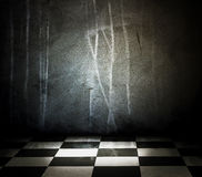 Stone interior with checkered marble floor. Empty of stone interior with checkered marble floor Royalty Free Stock Photos