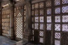 Stone jali work. Indo-Saracenic architectural style, Makarba. Sarkhej Roza, Ahmedabad. From Gujarat India Stock Image
