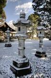 Japanese lanterns under snow. Stone Japanese lanterns covered by snow, Hatchiman shrine, Kasugai, Aichi prefecture, Japan royalty free stock image