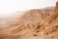Stone judean desert near dead sea Stock Photos